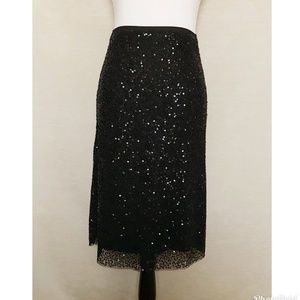 Talbots Black Sequined A-Line Skirt